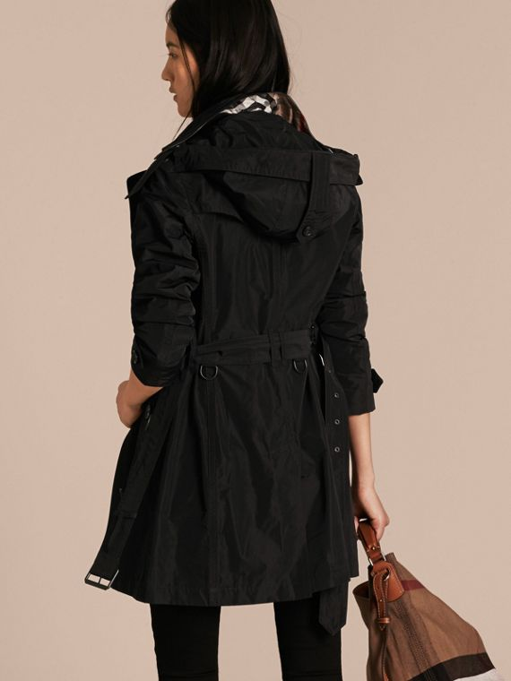 Black Taffeta Trench Coat with Detachable Hood Black - cell image 2