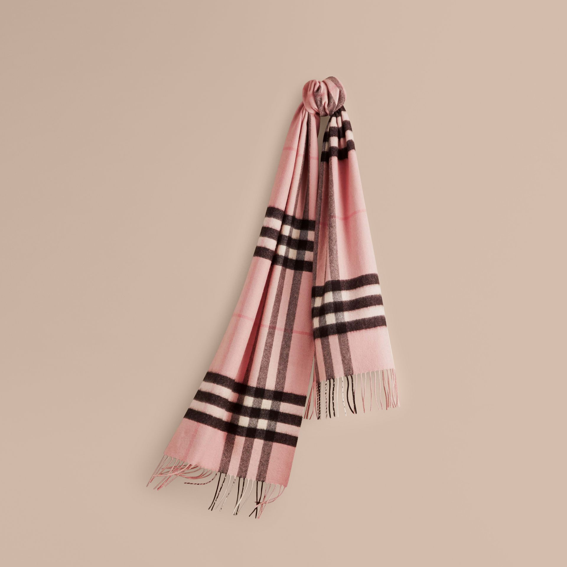 The Classic Cashmere Scarf in Check Rose - gallery image 6