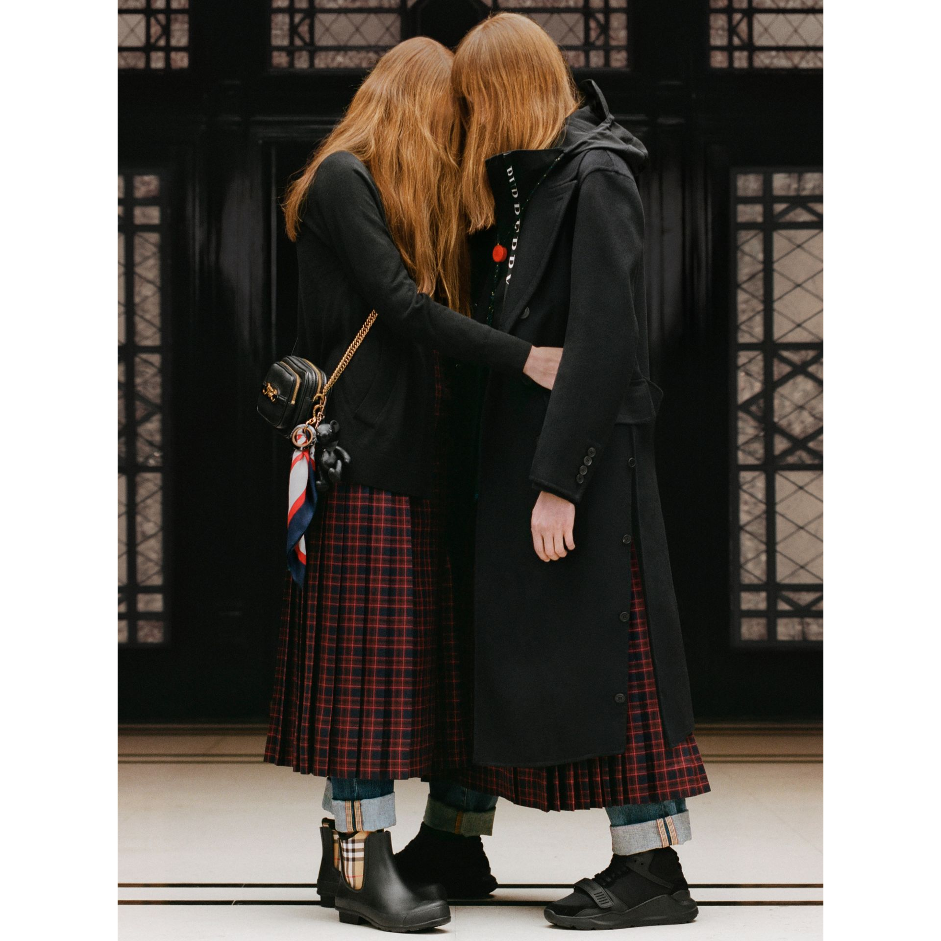 Tartan Wool Long Kilt in Navy - Women | Burberry - gallery image 6
