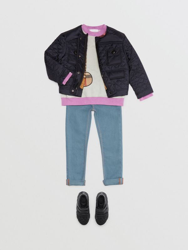 Lightweight Diamond Quilted Jacket in Navy - Children | Burberry - cell image 2