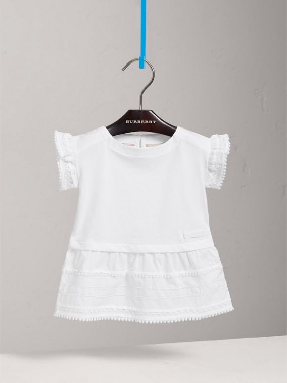 Lace Detail Cotton Dress in White