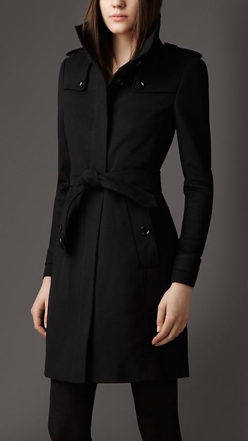 Black Fitted Virgin Wool Coat - Image 1