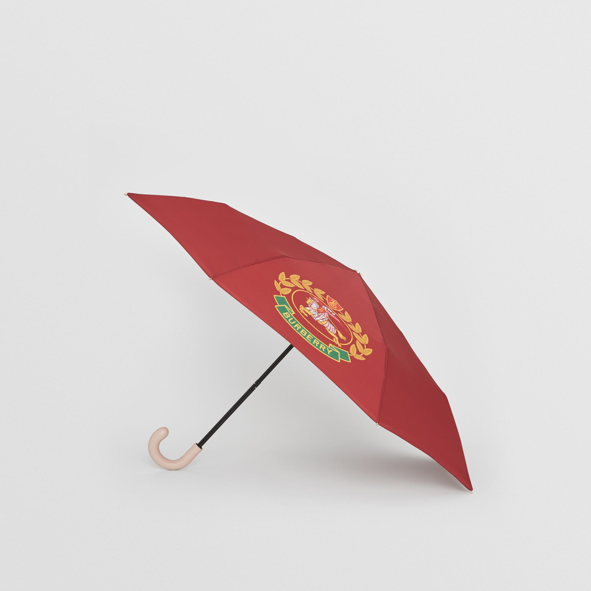 Crest Print Folding Umbrella in Claret | Burberry - gallery image 2