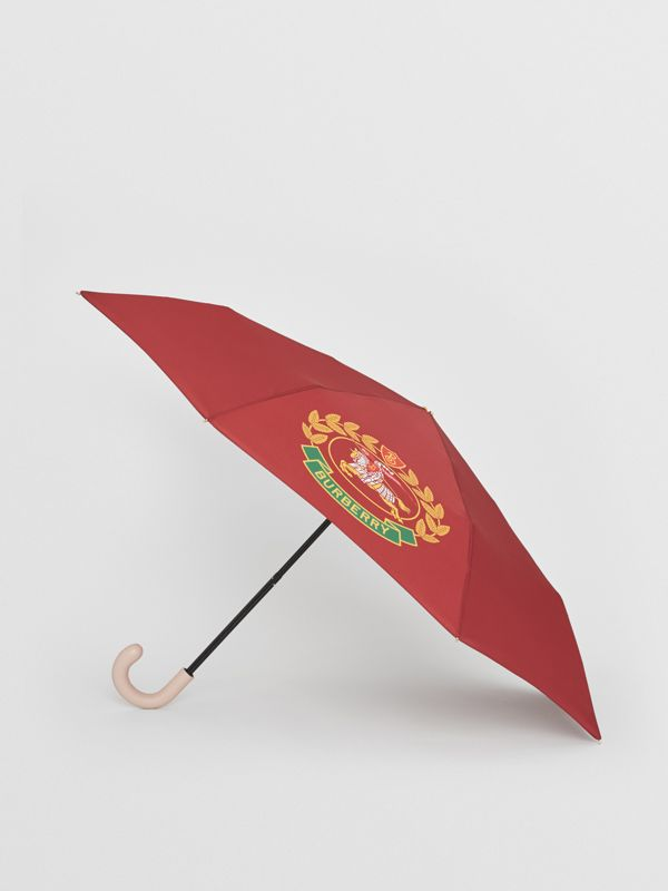 Crest Print Folding Umbrella in Claret | Burberry - cell image 2