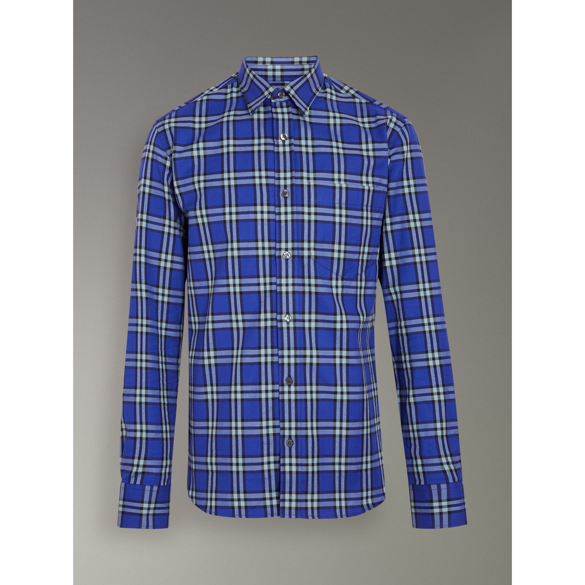 Check Cotton Shirt in Bright Lapis - Men | Burberry Australia - gallery image 3