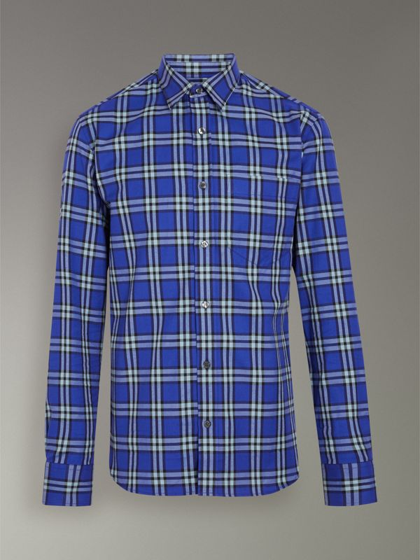 Check Cotton Shirt in Bright Lapis - Men | Burberry - cell image 3