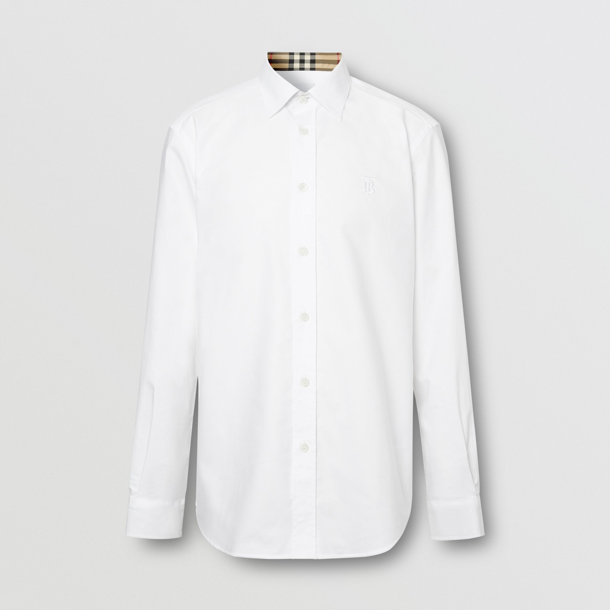 Monogram Motif Cotton Oxford Shirt in White - Men | Burberry - 4