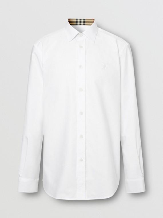 Camicia Oxford in cotone con il marchio del cavaliere equestre ricamato (Bianco)