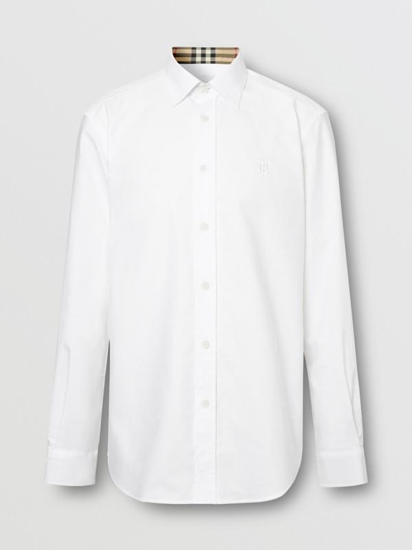 Monogram Motif Cotton Oxford Shirt in White - Men | Burberry Hong Kong S.A.R - cell image 3