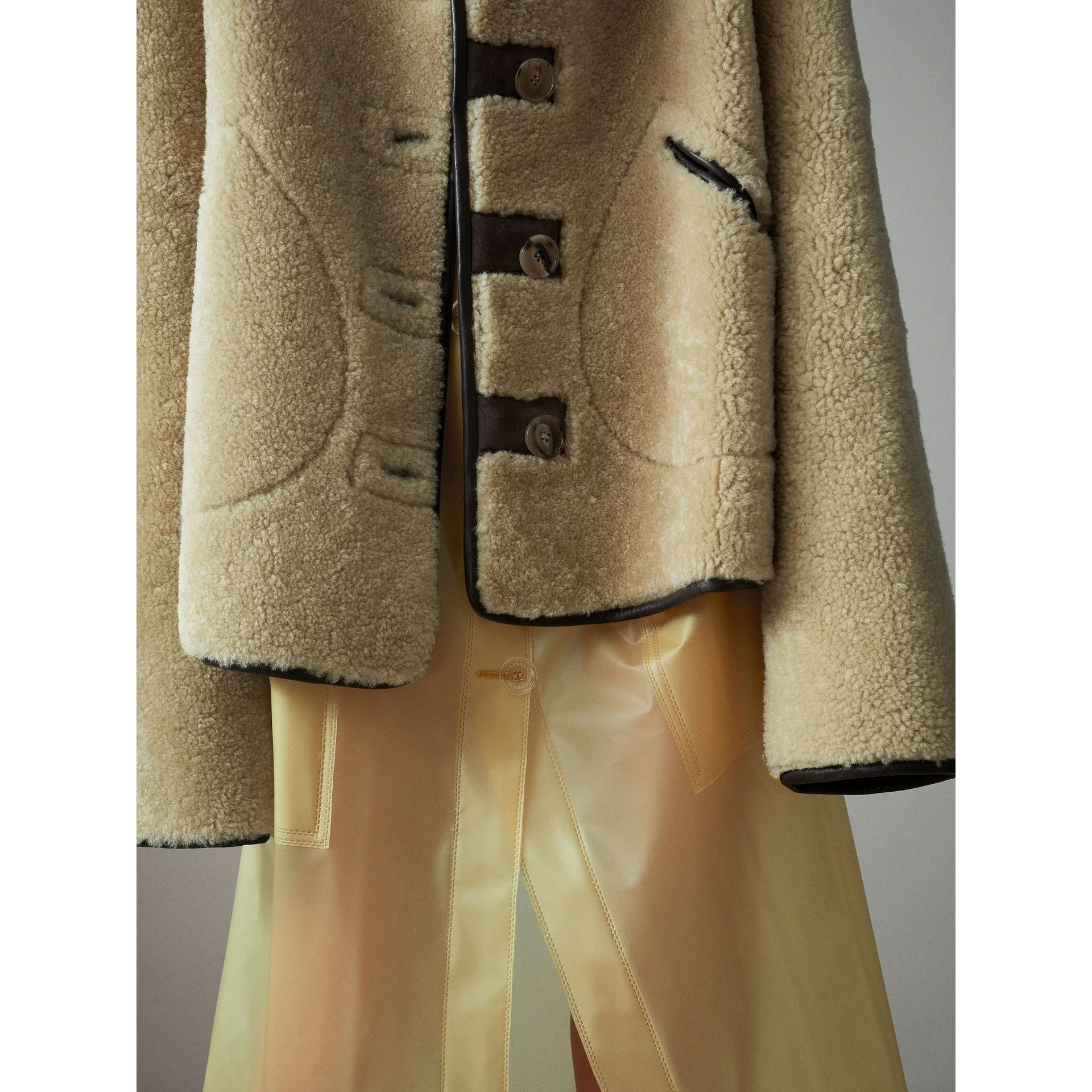 Shearling and Lambskin Jacket in Chocolate/light Citrus - Women | Burberry United Kingdom - gallery image 4
