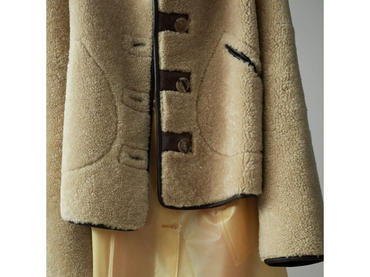 Shearling and Lambskin Jacket in Chocolate/light Citrus - Women | Burberry United Kingdom - cell image 4