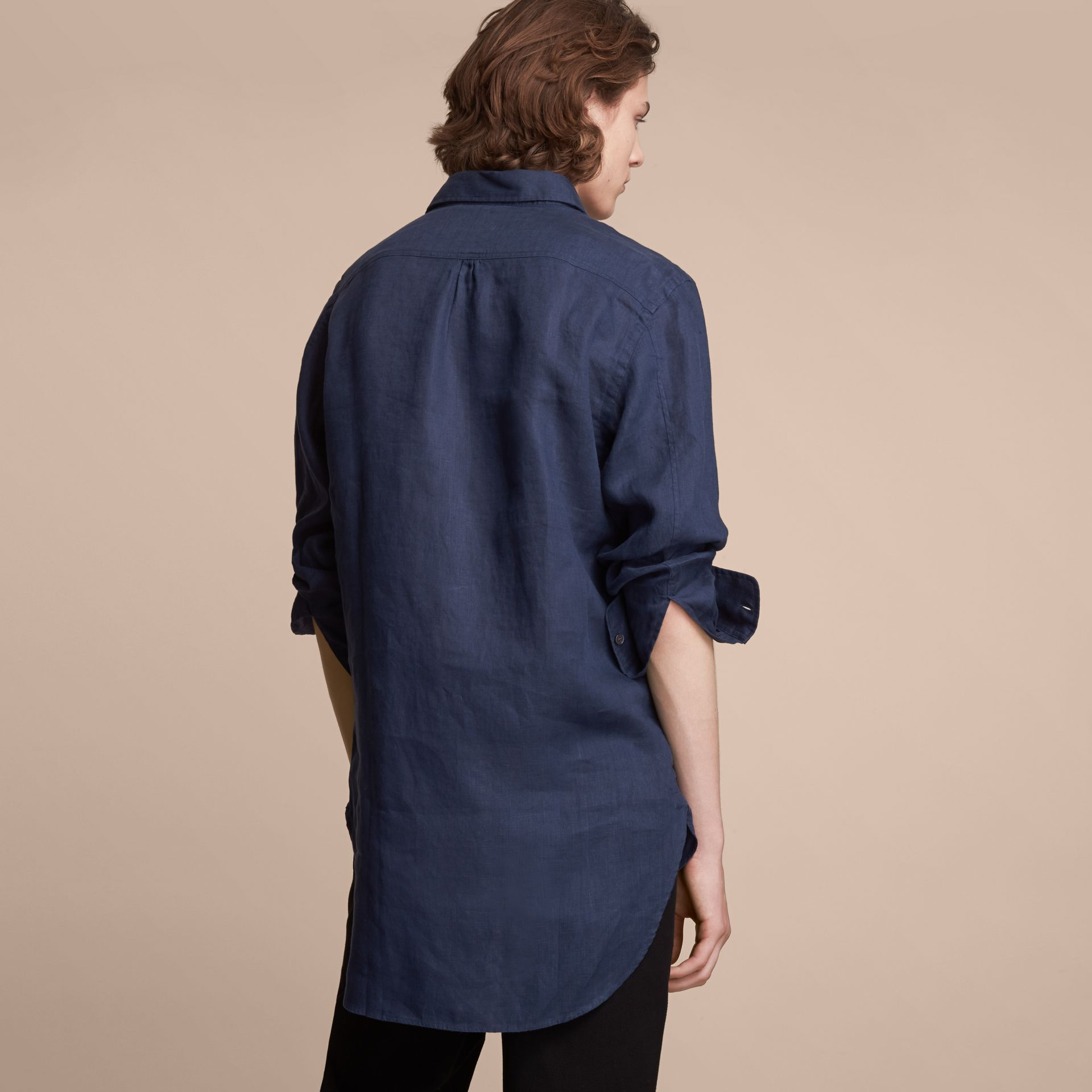 Bib Detail Linen Tunic Shirt in Navy - Men | Burberry Hong Kong - gallery image 3
