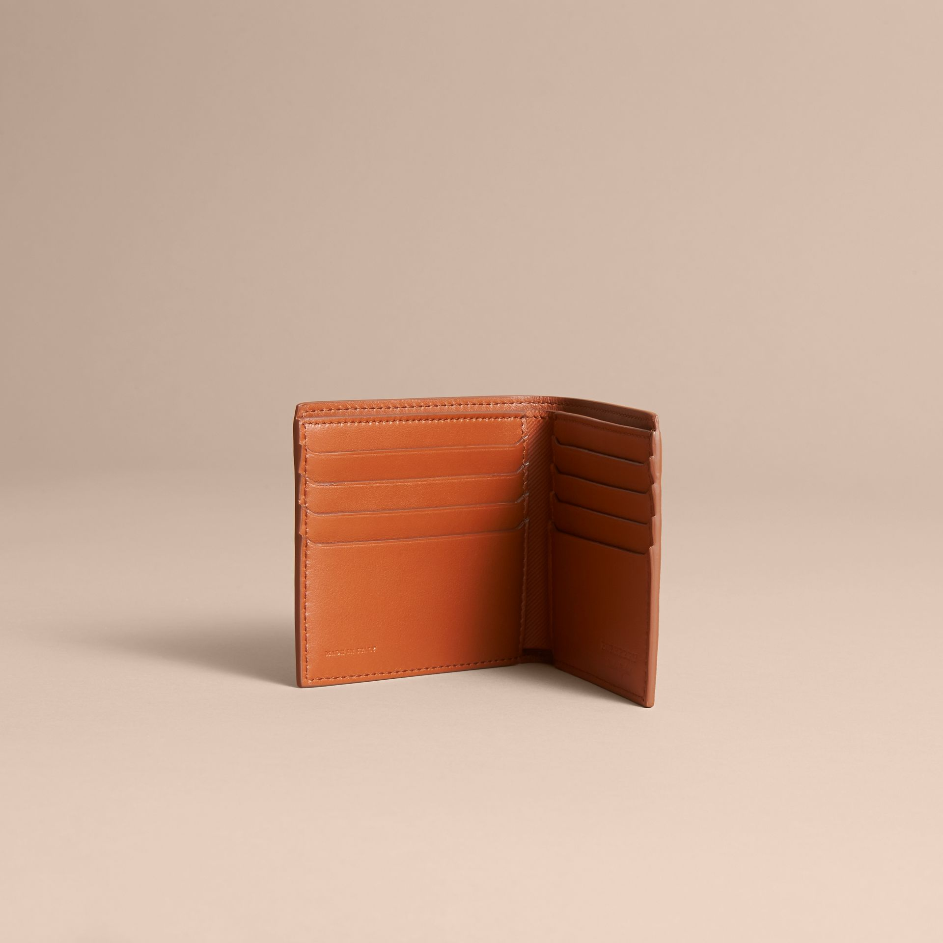 Trench Leather International Bifold Wallet in Tan - Men | Burberry Australia - gallery image 5