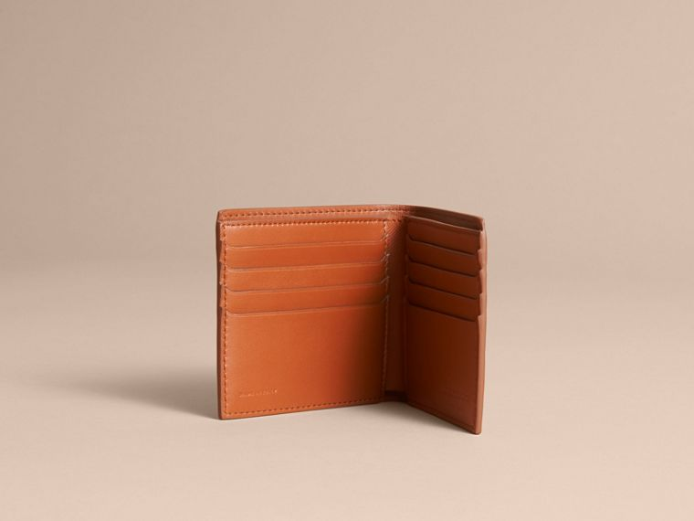 Trench Leather International Bifold Wallet in Tan - Men | Burberry Australia - cell image 4