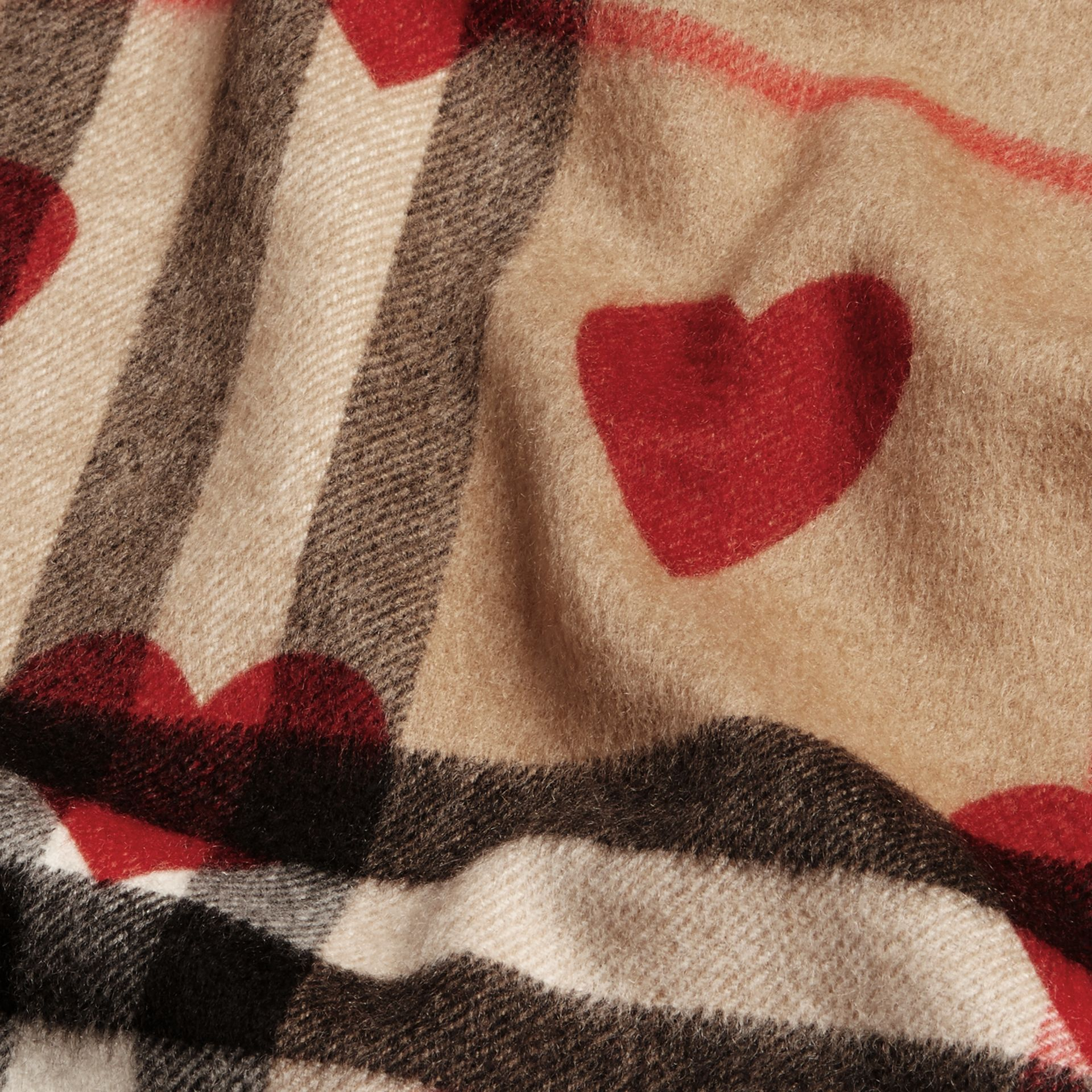 The Classic Cashmere Scarf in Check and Hearts in Parade Red | Burberry - gallery image 5