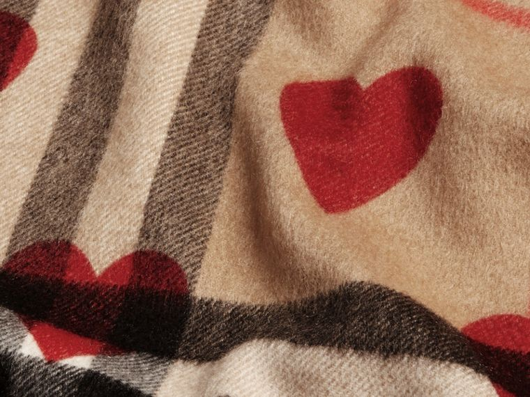 The Classic Cashmere Scarf in Check and Hearts in Parade Red | Burberry - cell image 4