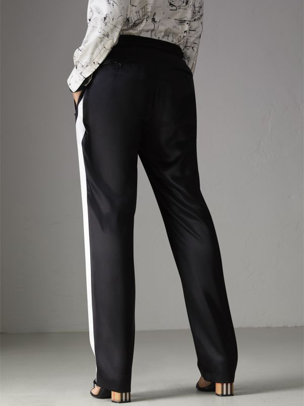 Stripe Detail Silk Satin Tailored Track Pants in Black - Women | Burberry - cell image 2