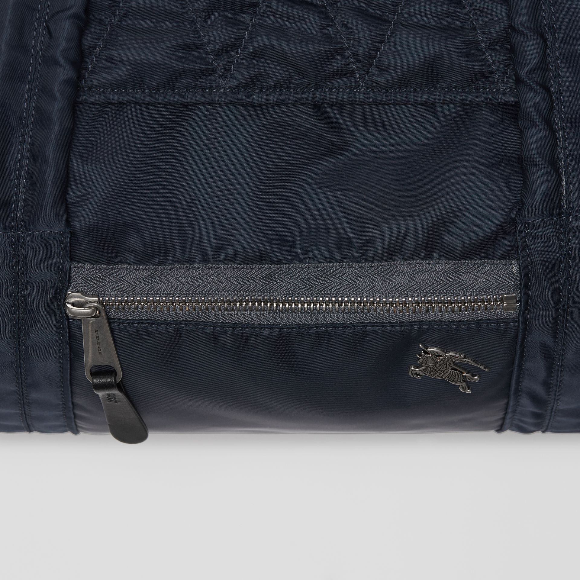 Large EKD Aviator Nylon and Leather Barrel Bag in Ink Blue - Men | Burberry United States - gallery image 2