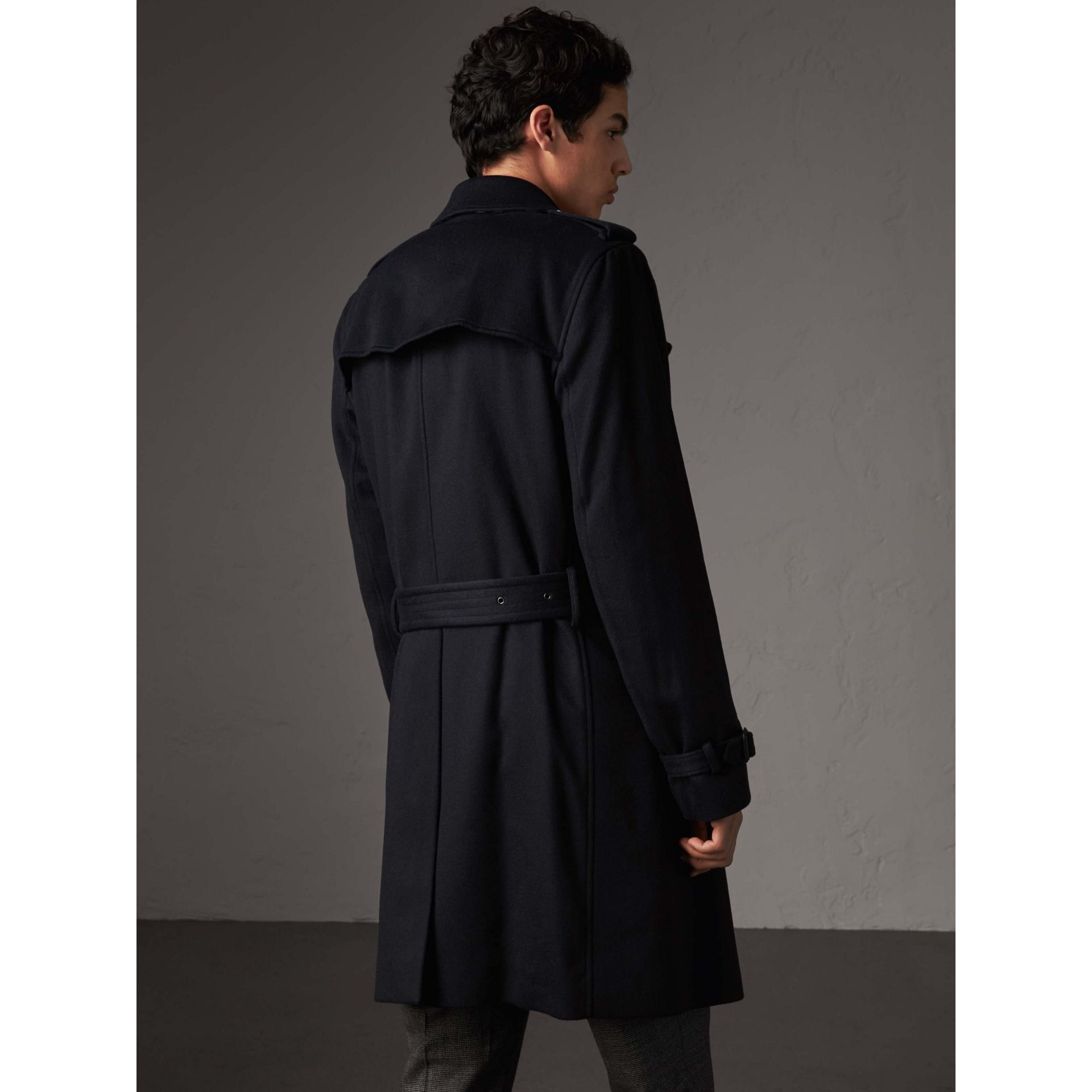 Cashmere Trench Coat in Navy - Men | Burberry Australia - gallery image 2