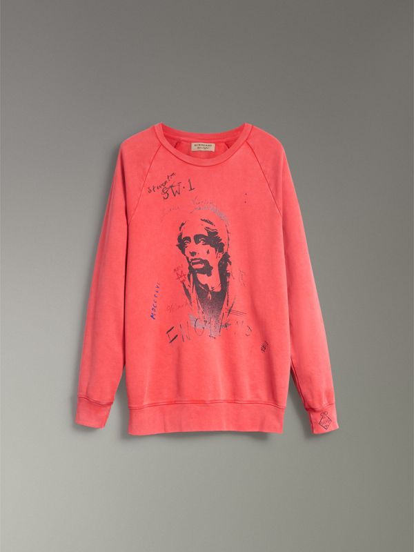 Portrait Print Cotton Sweatshirt in Bright Military Red - Men | Burberry - cell image 3
