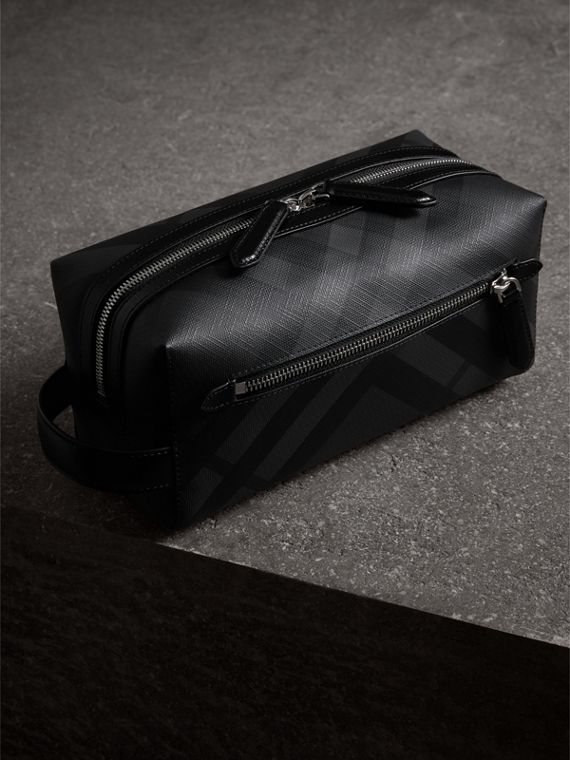 London Check and Leather Pouch in Charcoal/black - Men | Burberry - cell image 2