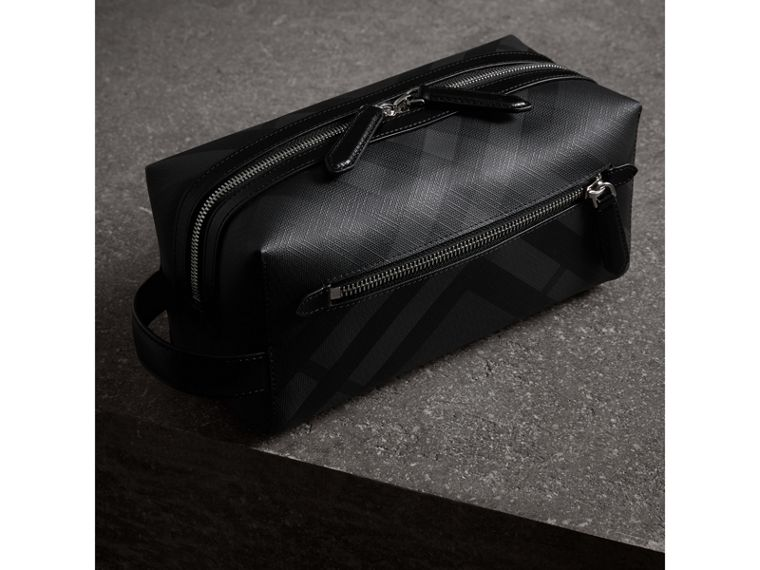 London Check and Leather Pouch in Charcoal/black | Burberry Singapore - cell image 4