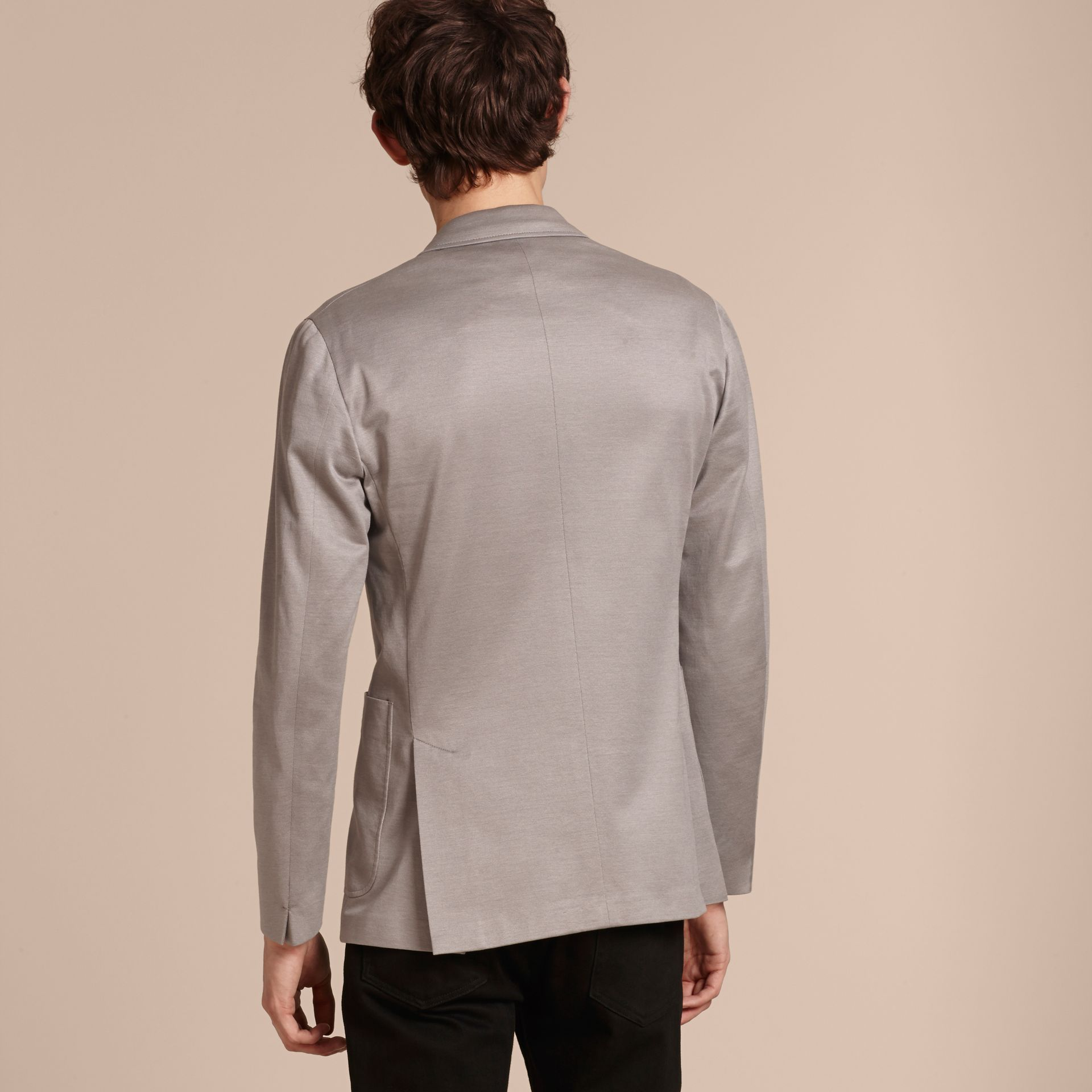 Mid grey melange Slim Fit Tailored Cotton Jacket Mid Grey Melange - gallery image 3