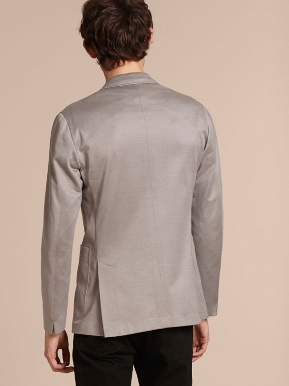 Mid grey melange Slim Fit Tailored Cotton Jersey Jacket Mid Grey Melange - cell image 2