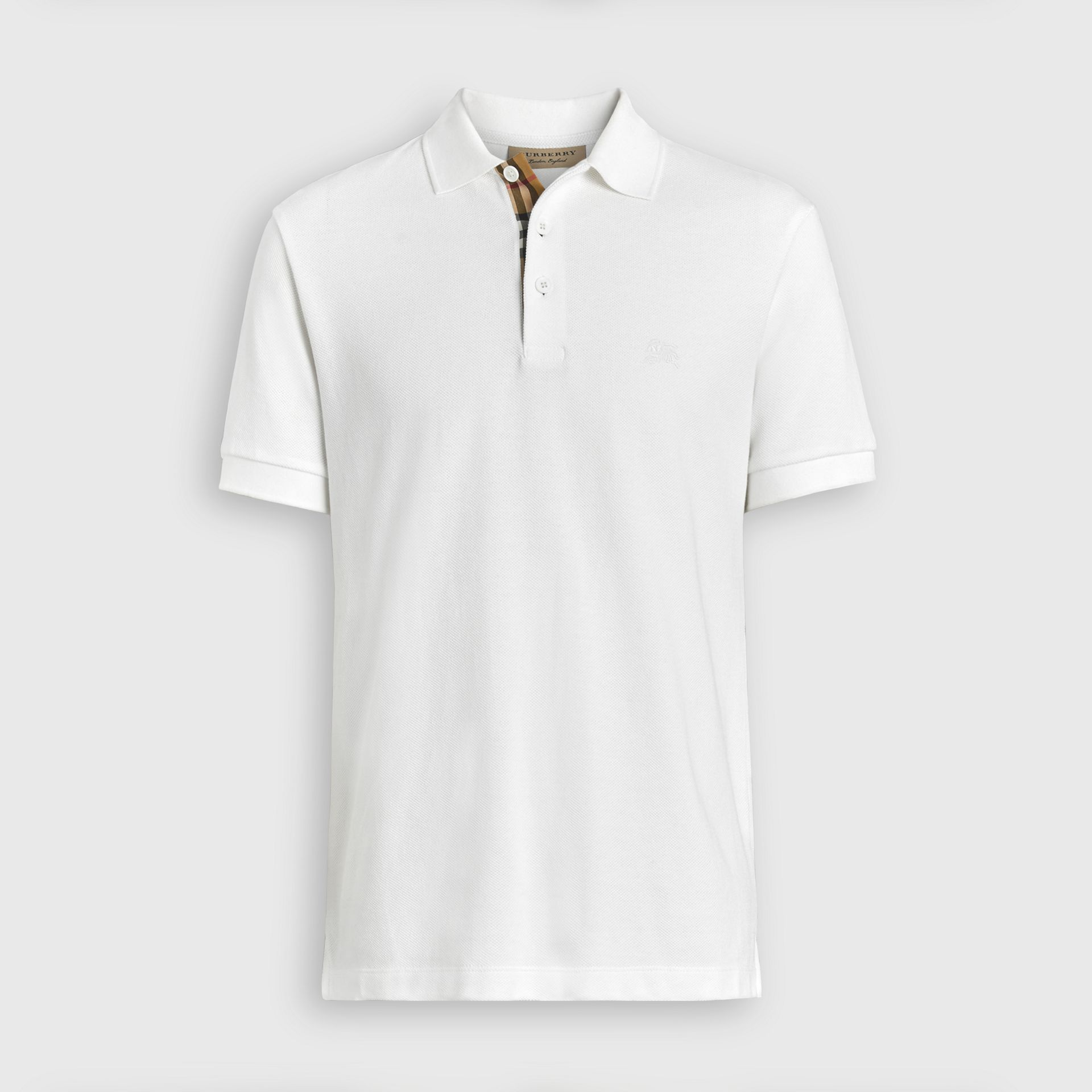 Check Placket Cotton Polo Shirt in White - Men | Burberry United Kingdom - gallery image 3