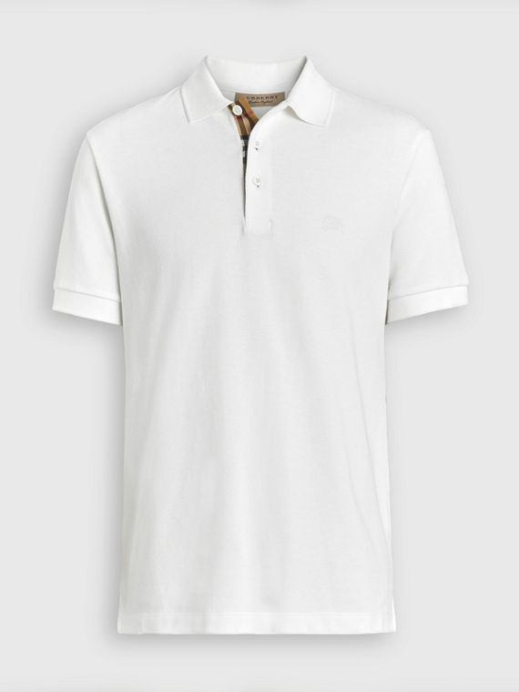 Check Placket Cotton Polo Shirt in White