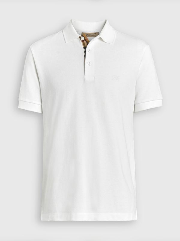 Check Placket Cotton Polo Shirt in White - Men | Burberry United Kingdom - cell image 3