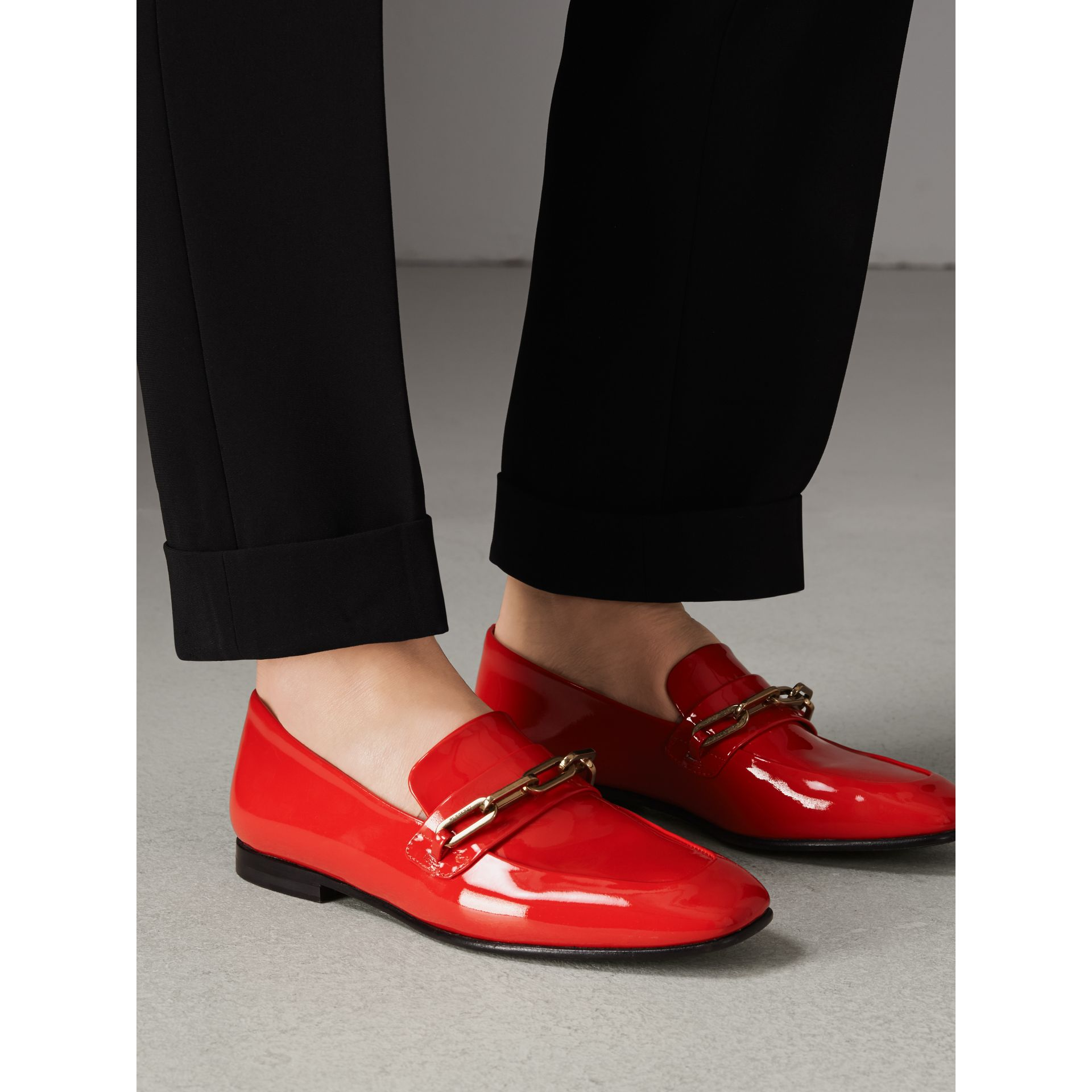 Link Detail Patent Leather Loafers in Bright Red - Women | Burberry - gallery image 2