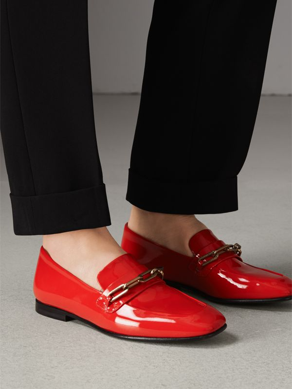 Link Detail Patent Leather Loafers in Bright Red - Women | Burberry United Kingdom - cell image 2
