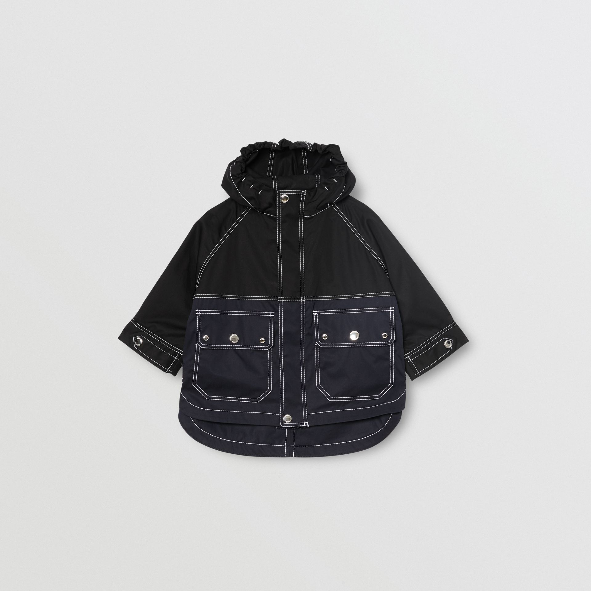 Topstitched Cotton Hooded Jacket in Black - Children | Burberry United Kingdom - gallery image 0