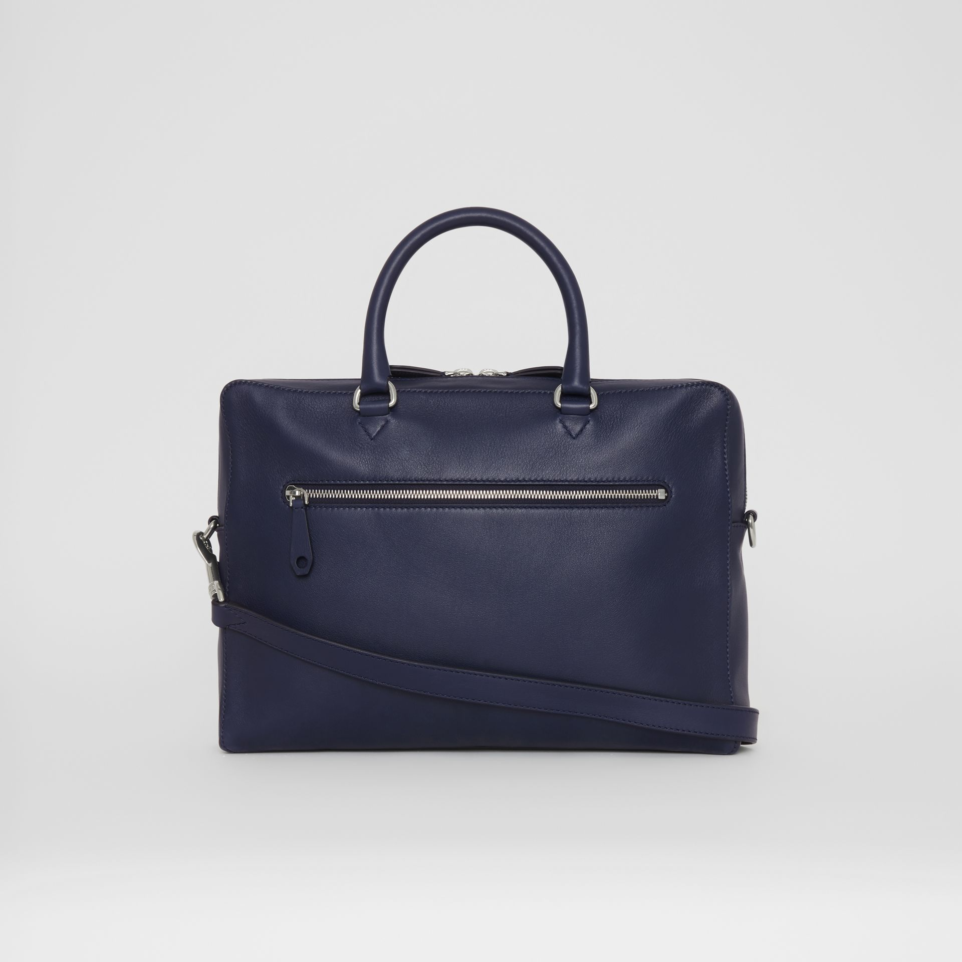 Embossed Crest Leather Briefcase in Regency Blue - Men | Burberry United States - gallery image 7