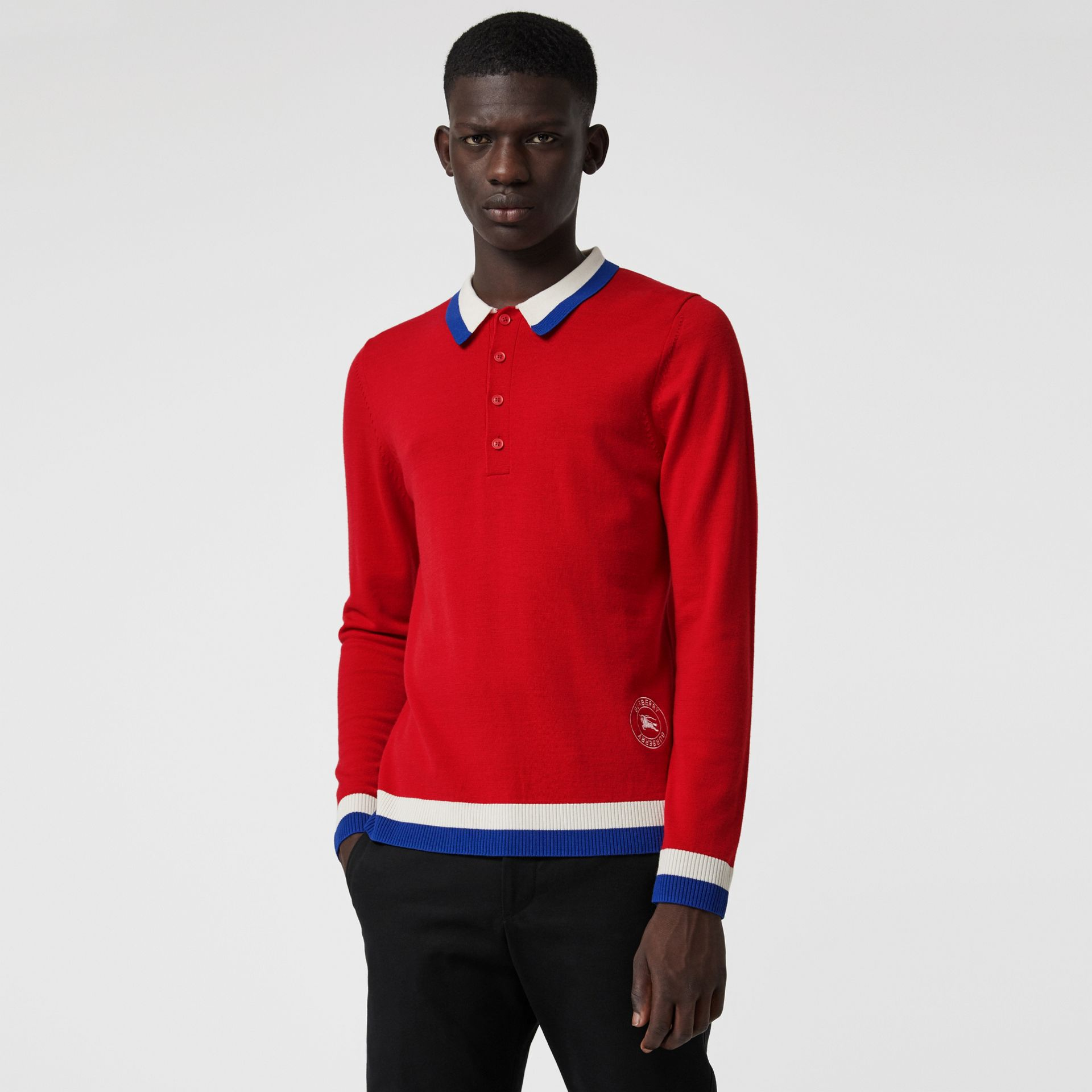 Stripe Detail Merino Wool Long-sleeve Polo Shirt in Bright Red - Men | Burberry - gallery image 0