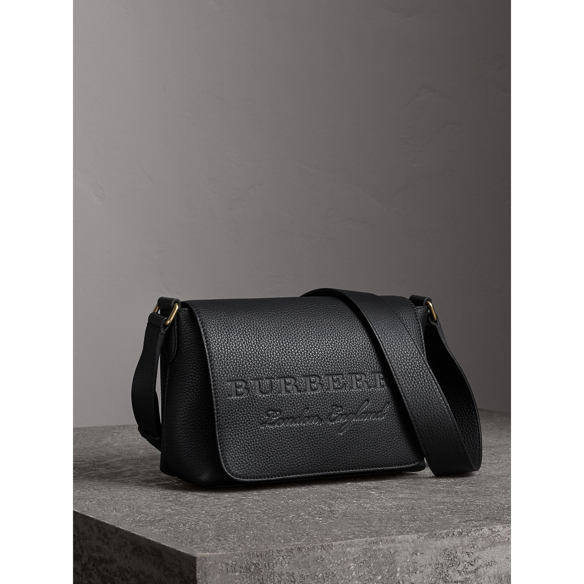 Small Embossed Leather Messenger Bag in Black - Women | Burberry - gallery image 5