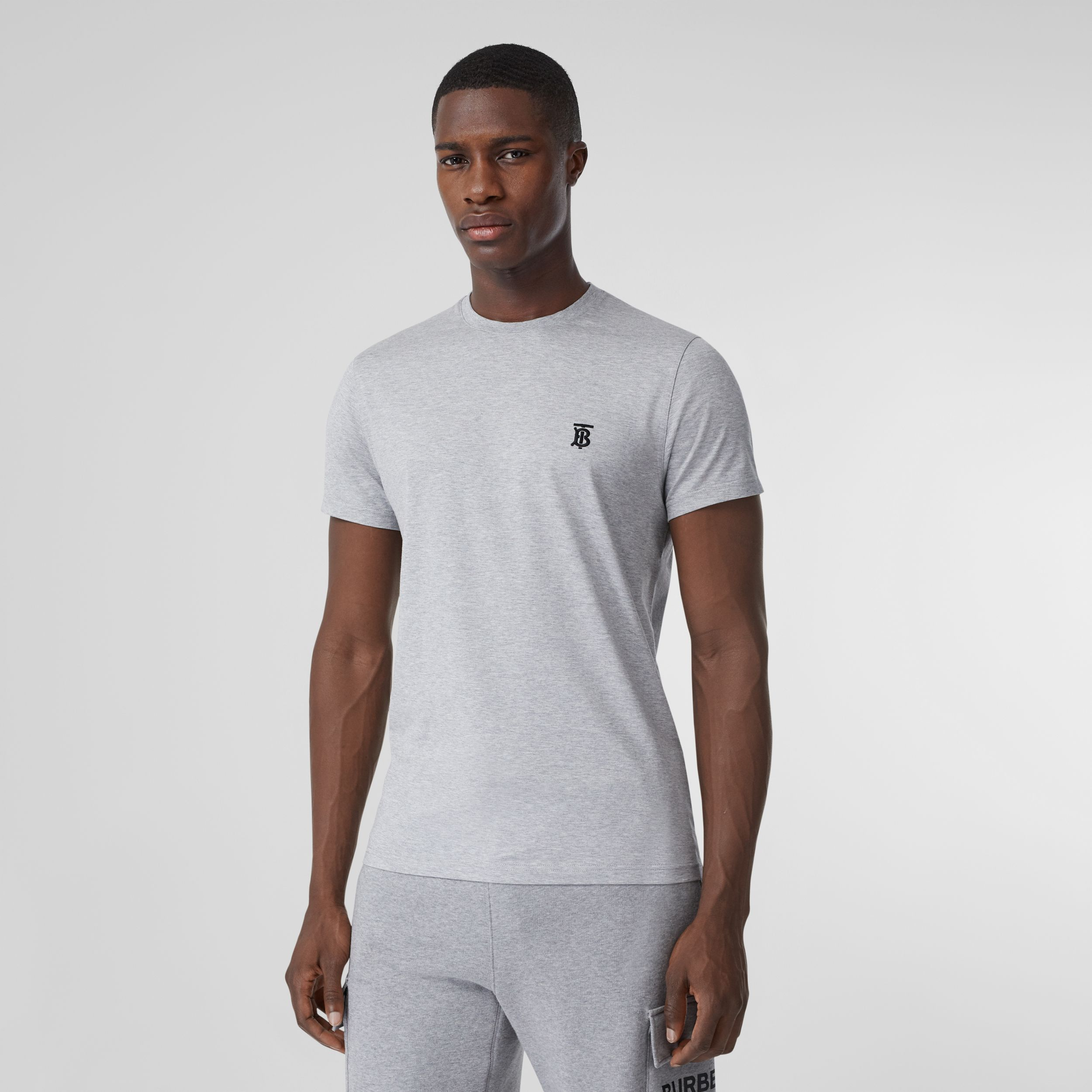 Monogram Motif Cotton T-shirt in Pale Grey Melange - Men | Burberry - 1