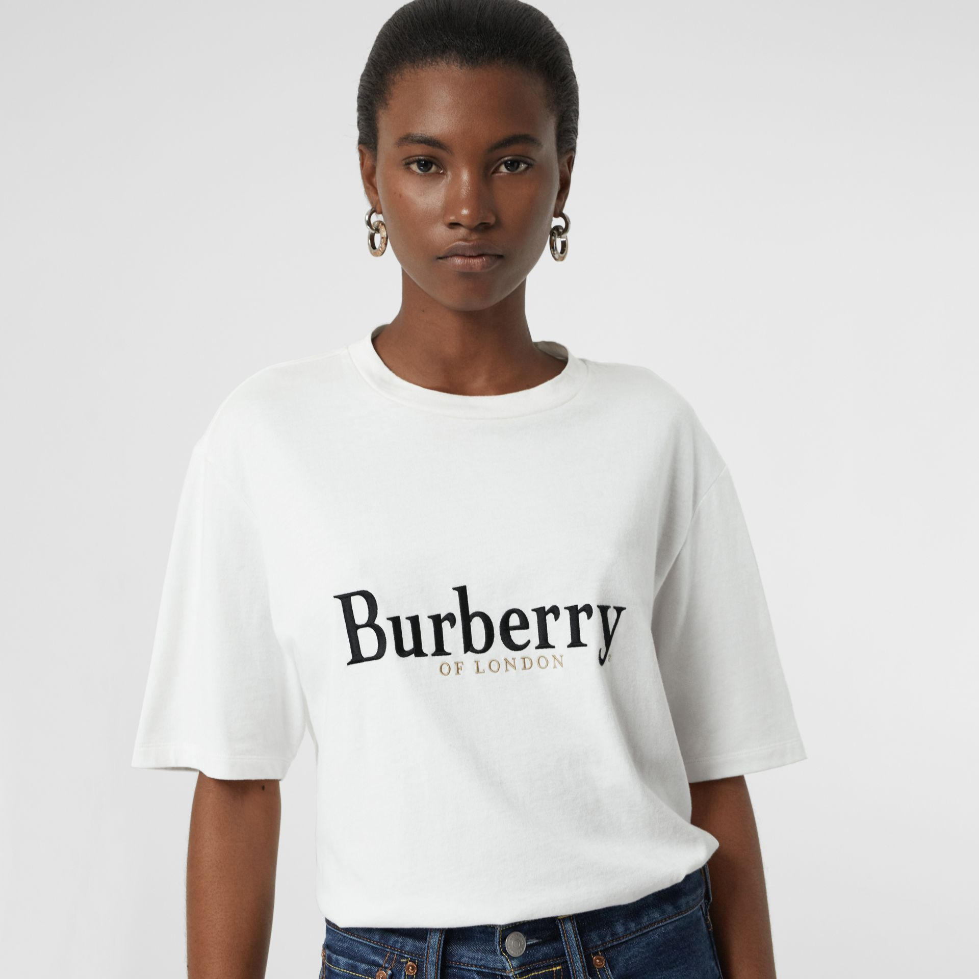 Embroidered Archive Logo Cotton T-shirt in White/black - Women | Burberry - gallery image 1