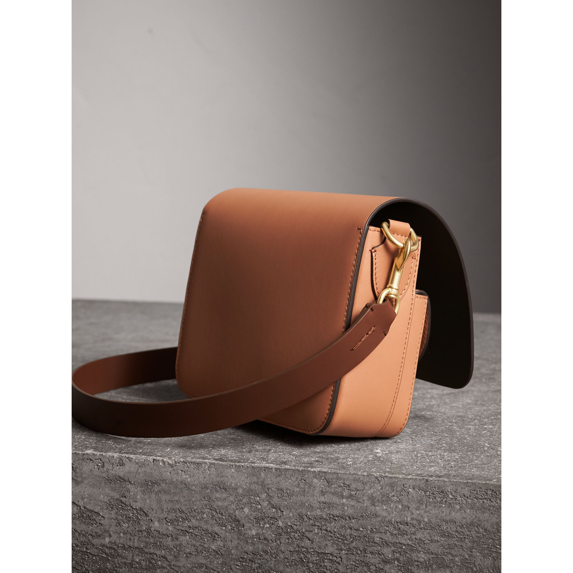 The Square Satchel in Leather in Camel - Women | Burberry Australia - gallery image 4