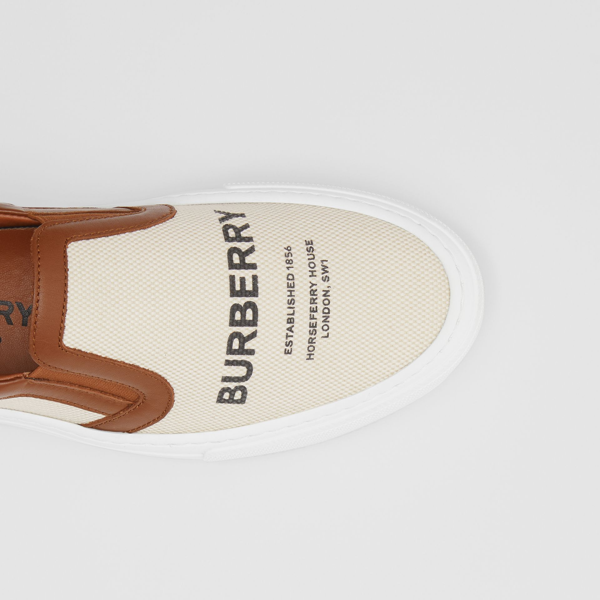 Horseferry Print Cotton and Leather Slip-on Sneakers in Malt Brown - Women | Burberry United Kingdom - gallery image 1