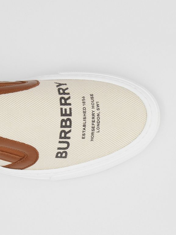Horseferry Print Cotton and Leather Slip-on Sneakers in Malt Brown - Women | Burberry - cell image 1