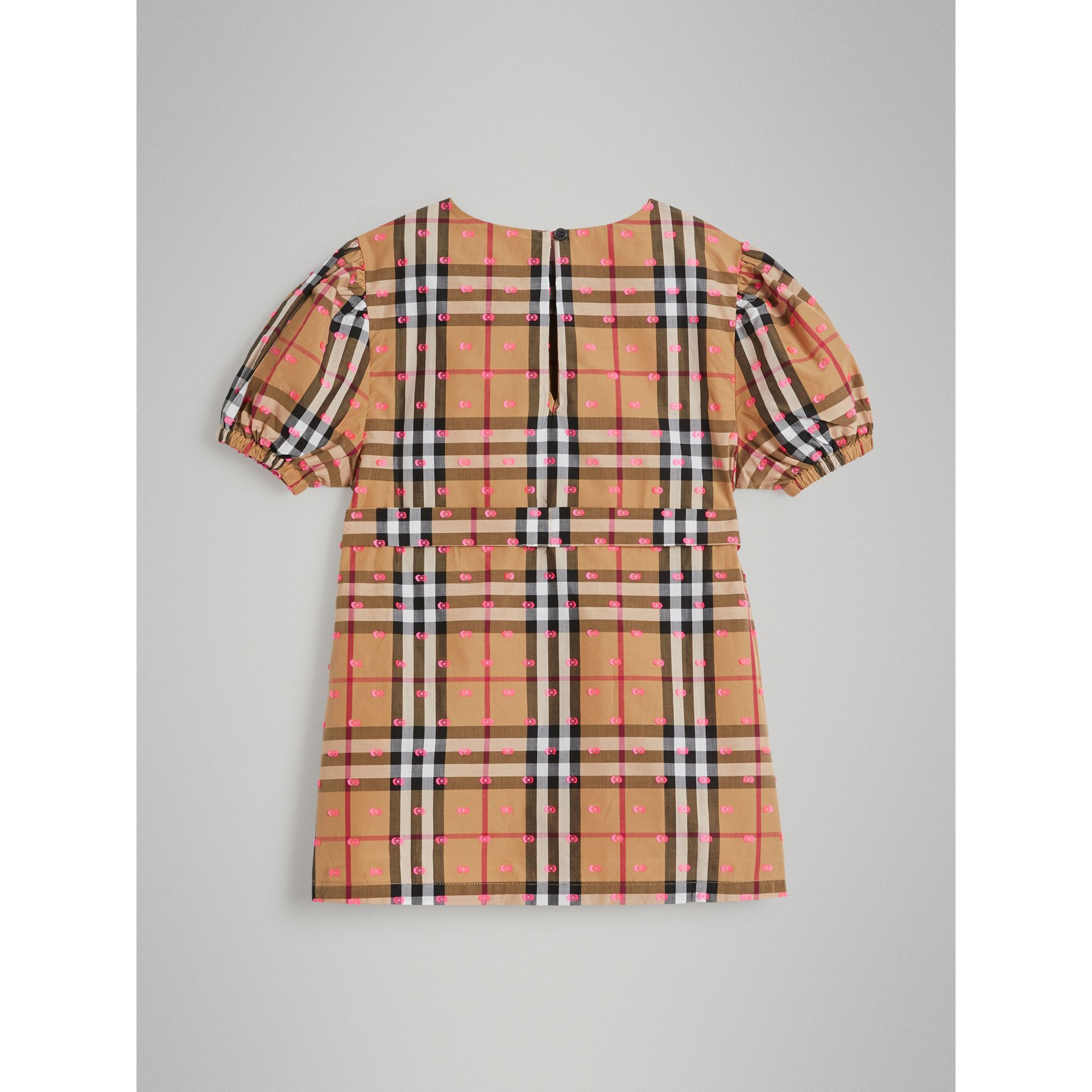 Gathered Sleeve Vintage Check Cotton Dress in Antique Yellow | Burberry Singapore - gallery image 3