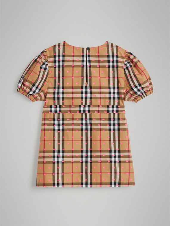 Gathered Sleeve Vintage Check Cotton Dress in Antique Yellow - Girl | Burberry - cell image 3