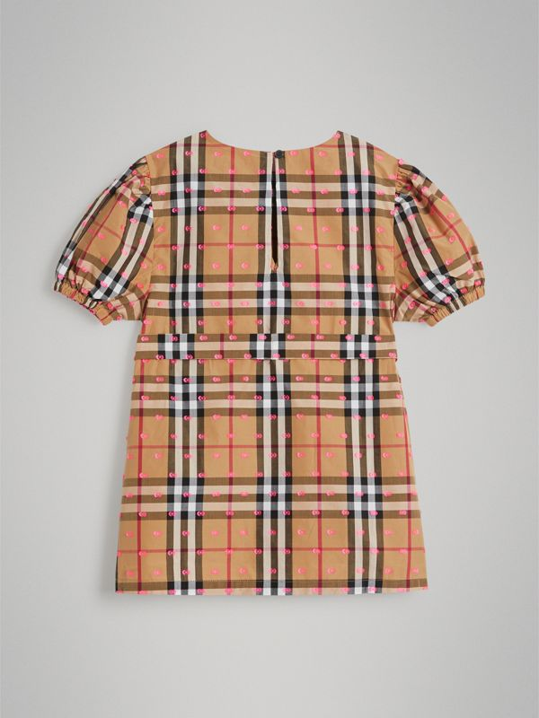 Gathered Sleeve Vintage Check Cotton Dress in Antique Yellow | Burberry Singapore - cell image 3