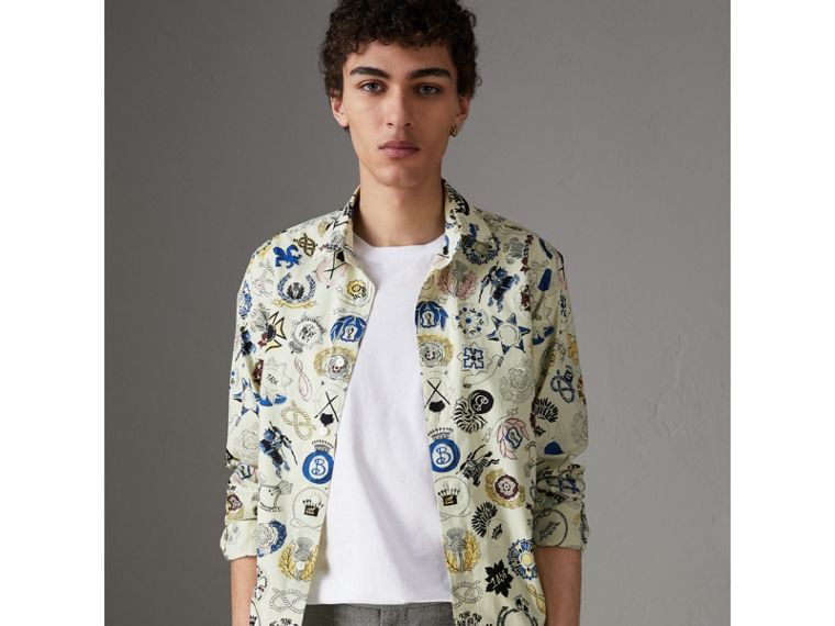 Emblem Print Cotton Shirt in Natural White - Men | Burberry - cell image 4