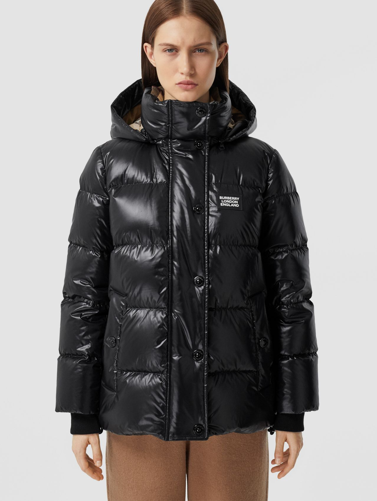 Detachable Hood Logo Appliqué Puffer Jacket in Black