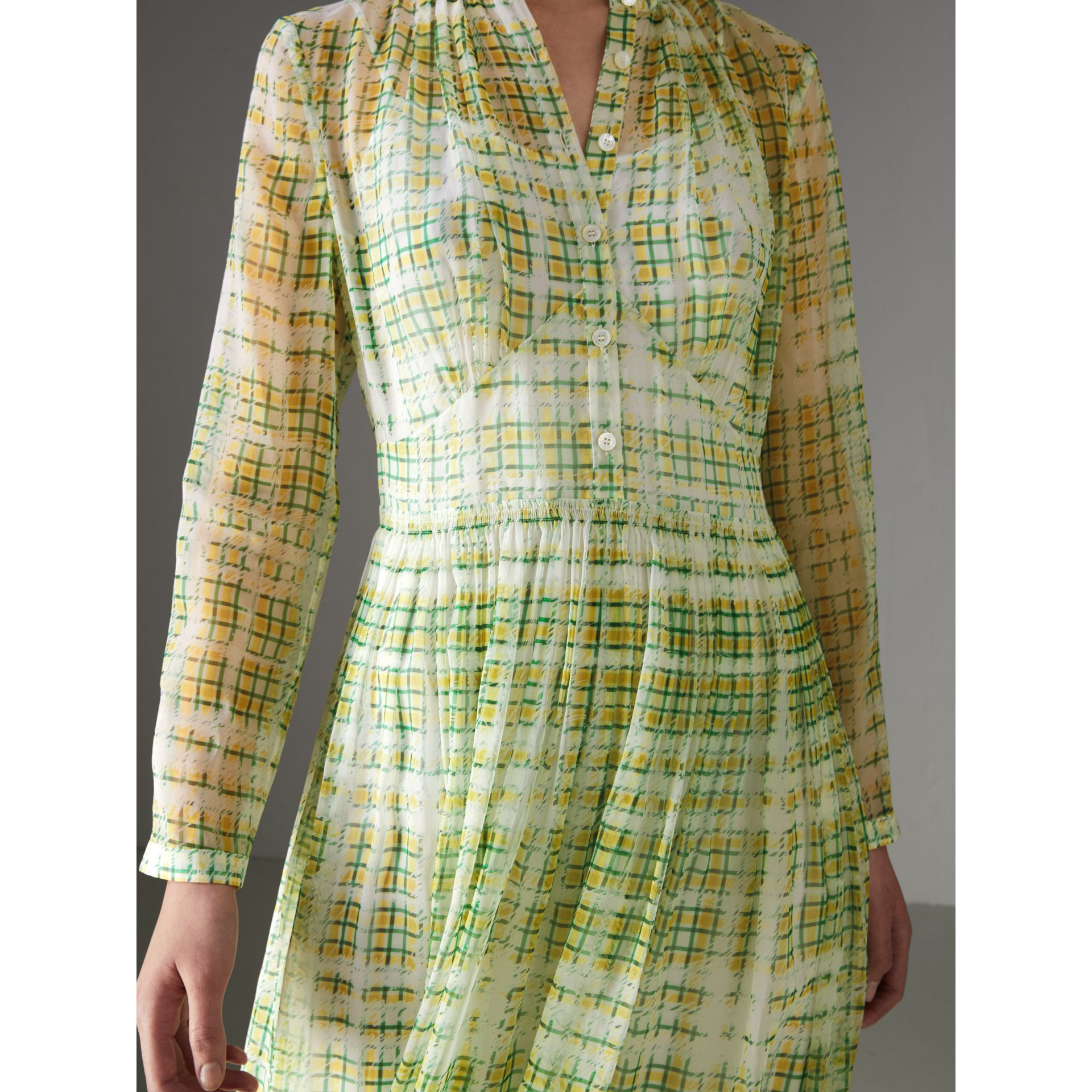 Scribble Check Print Silk Dress in Yellow - Women | Burberry Canada - gallery image 1