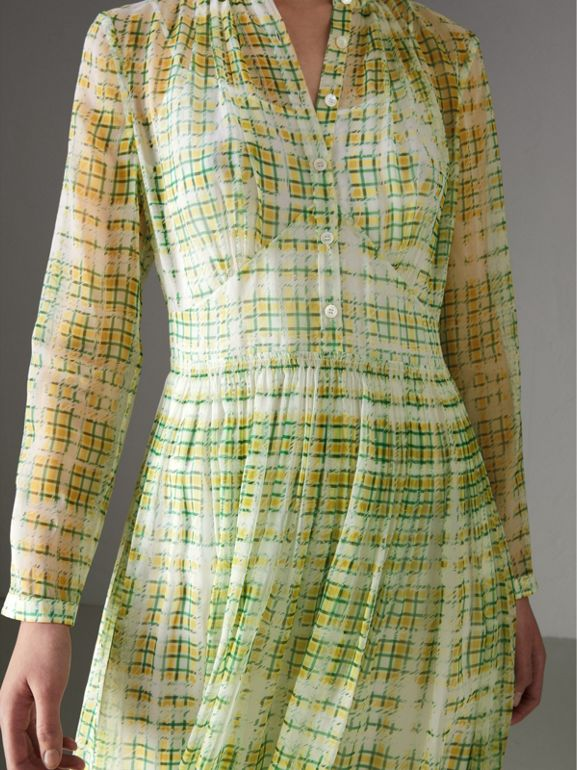 Scribble Check Print Silk Dress in Yellow - Women | Burberry United Kingdom - cell image 1
