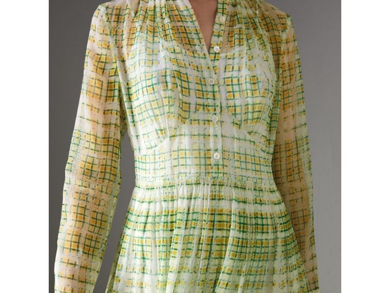 Scribble Check Print Silk Dress in Yellow - Women | Burberry - cell image 1